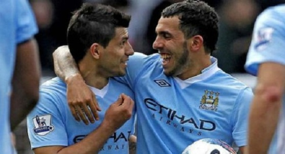 Doubles from both Aguero and Tevez have put City back on top