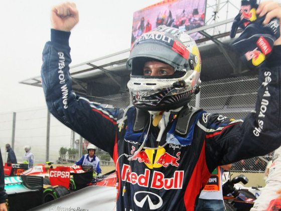 Vettel celebrates his third consecutive drivers championship