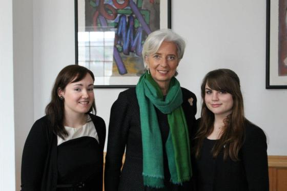 Madame Lagarde with Tricia and Órla after the interview